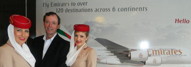 Don McWilliam, country manager, Canada, Emirates, with Emirates Airlines attendants