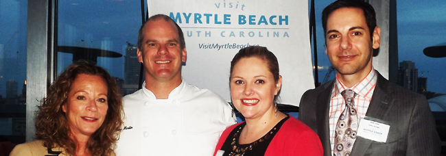 Kimberly Hartley, Myrtle Beach Area Convention & Visitors Bureau; Curry Martin, chef; Kimberly Miles, public relations representative, Myrtle Beach Area Convention & Visitors Bureau and Brad Cicero, manager, communications and public affairs, Porter Airlines