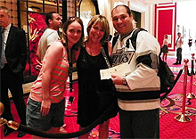 Patrice Bell with lucky NHL fans