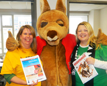 Goway Team: Shirley Rourke, wholesale manager, Eastern Canada & U.S.; kangaroo (a.k.a Paul Badics, business development manager) and Meg Boyd, product manager, South Pacific
